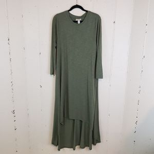 Ava Viv NWT 1X army green hi/low long sleeve dress